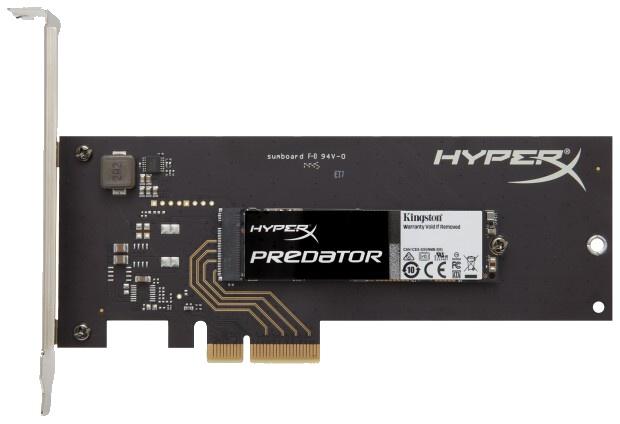 Kingston Predator SSD disk, lze jej připojit k PCI-E přes M.2 nebo PCI-E slot