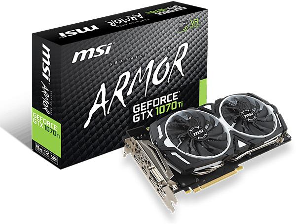 Grafická karta nVidia GeForce GTX 1070 Ti – MSI GeForce GTX 1070 Ti ARMOR 8G
