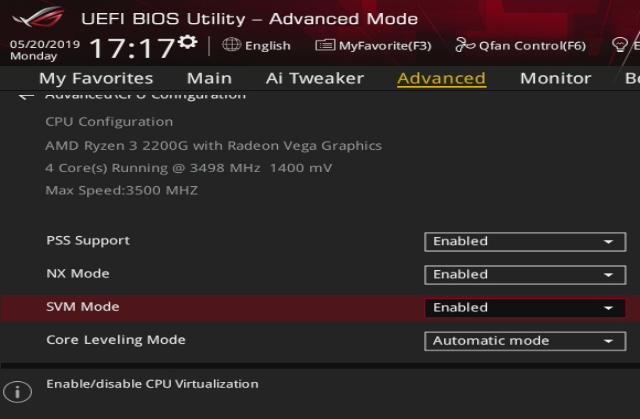 Advanced -> Advanced Configuration (CPU)