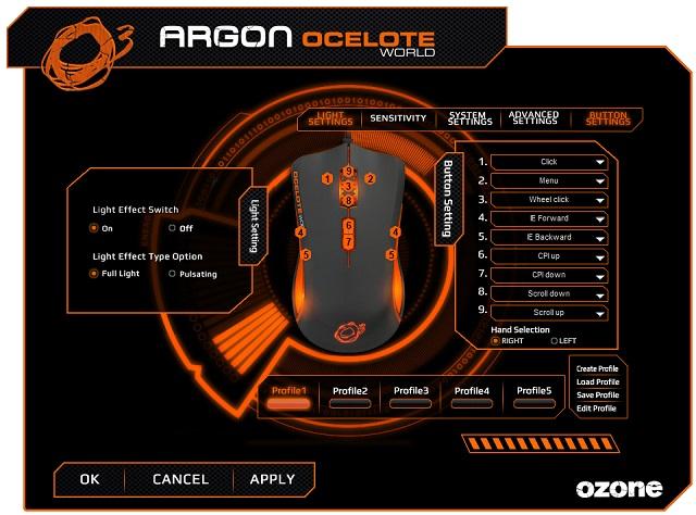 Ozone Argon Ocelote World: laserová symetrická herní myš