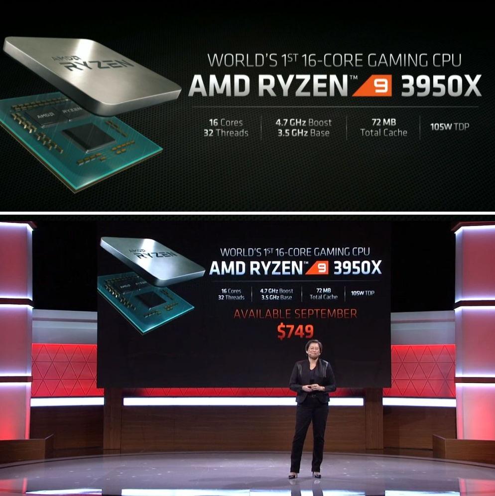 AMD představilo ultravýkonný šestnáctijádrový Ryzen 9 3950X