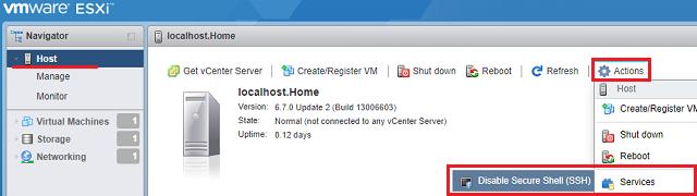 Zapnutí / vypnutí SSH