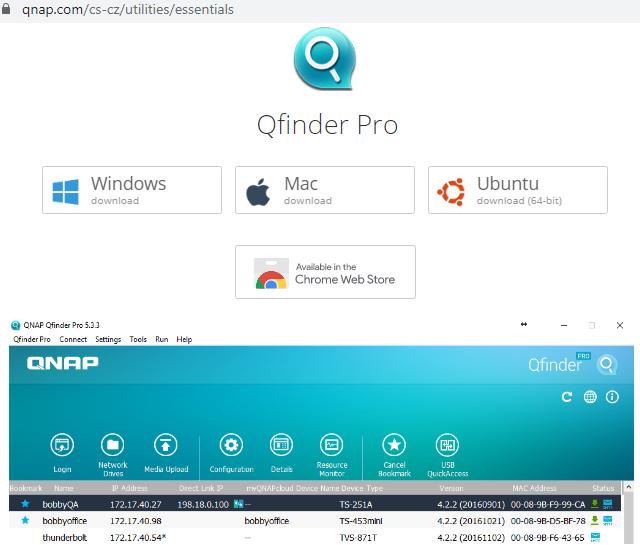 Nástroj QNAP Qfinder Pro