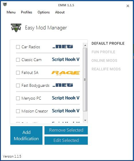 Easy Mod Manager a (de)aktivace modů.