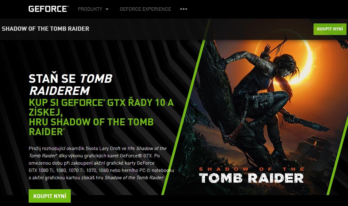 Kupte GeForce GTX a získejte Shadow Of The Tomb Raider zdarma