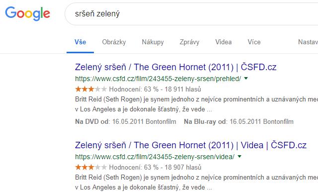 """Místo """"Sršeň zelený"""" vyhledal """"Zeleného sršně"""" - film."""