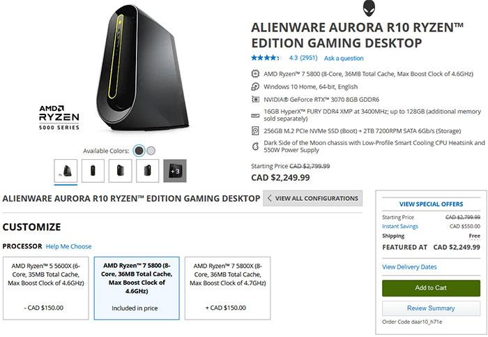 Dell má nový herní počítač s 65W AMD Ryzen 7 5800