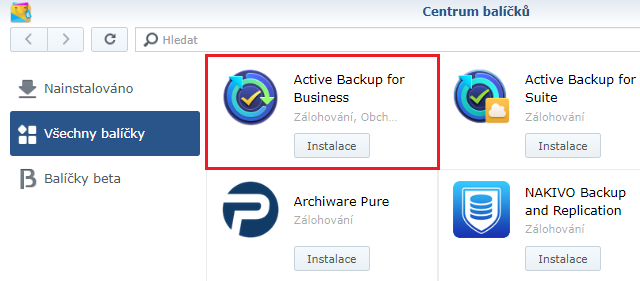Možnost instalace Synology Active Backup For Business