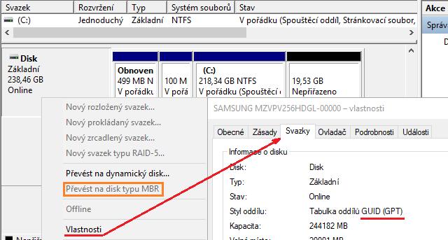 Ověření, jestli je disk typu MBR nebo GPT