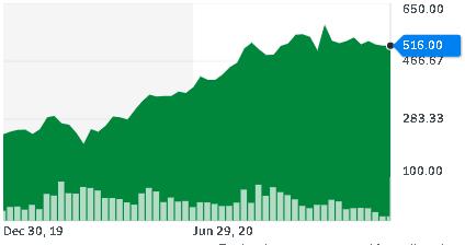 Nvidia drží vysokou cenu na akcii, z 236 stoupla cena na 516 USD