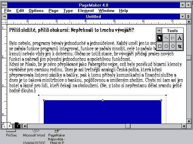 Aldus Pagemaker 4.0 z roku 1991 pod Windows 3.11 pro DTP