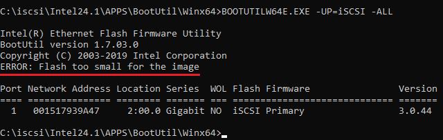 Paměť flash na síťové kartě je příliš malá, obraz se nevejde.