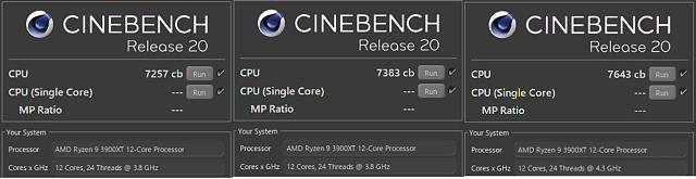 Zleva: default, Auto OC + PBO 2, OC 4,3 GHz full core
