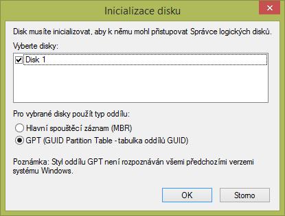 Dialogové okno inicializace disku ve Windows 10.