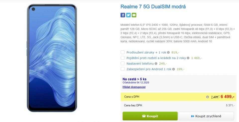 Povedená nabídka: Realme 7 5G je do zítra jen za 6 499 Kč