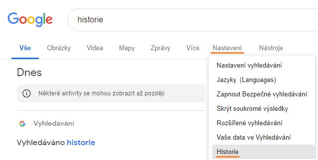 Historie vyhledávání