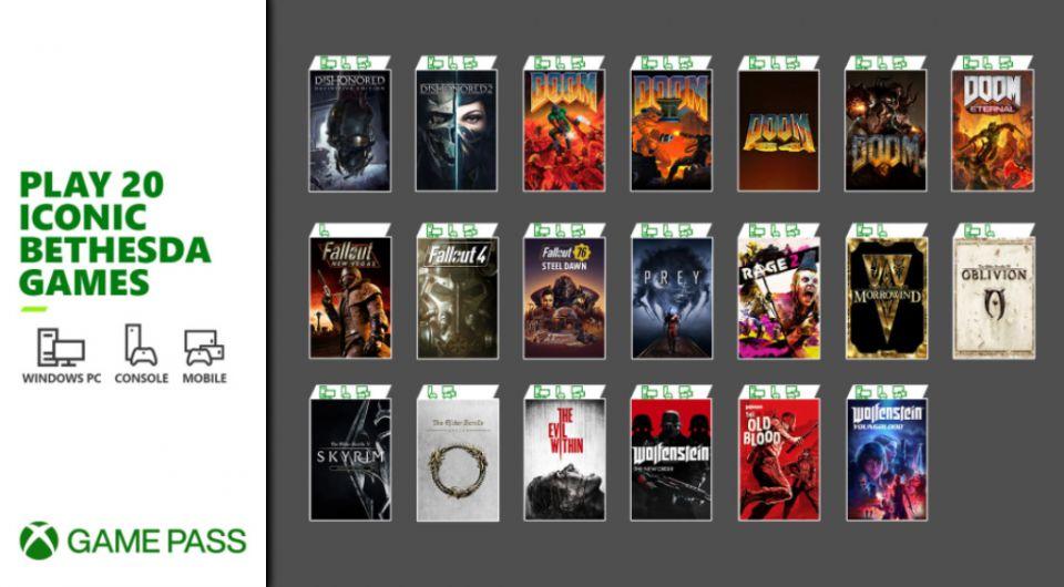 Xbox Game Pass nově obsahuje dvacet her Bethesdy