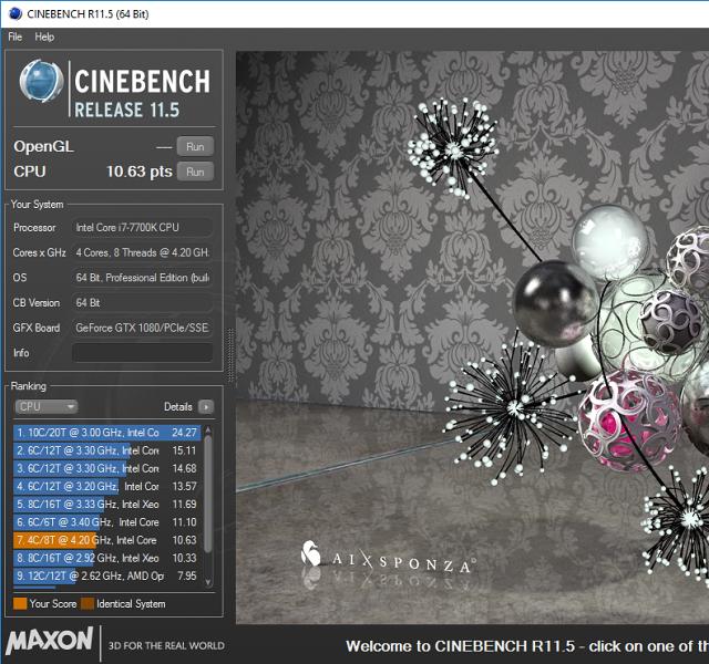 Základní výkon CPU (4,4 GHz)