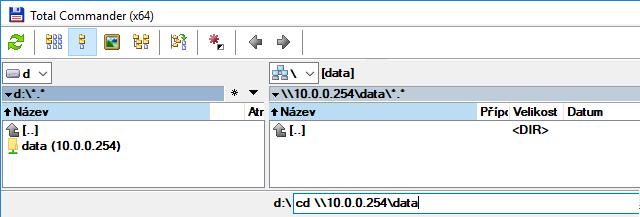 Připojení z pomocí Total commanderu