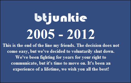 Vyhledávač torrentů BTjunkie ukončil svoji činnost, v reakci na uzavření populárního serveru Megaupload