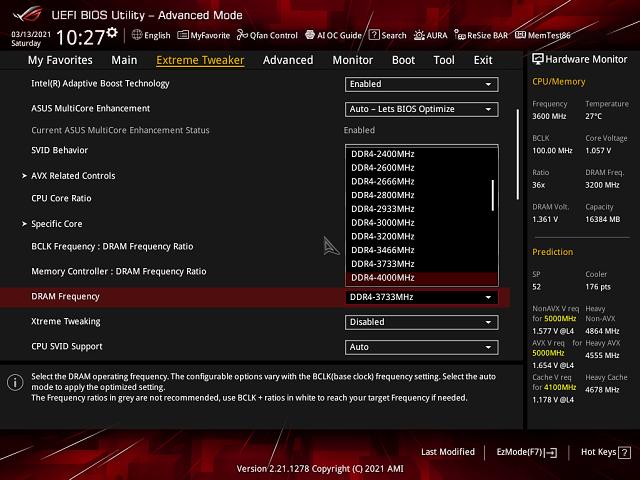 V režimu 1:2 některé frekvence paměti nelze použít (chybí třeba i 3600 MHz)