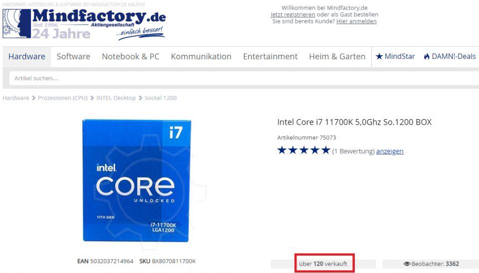 Německy e-shop už prodal přes 120 kusů Core i7-11700K