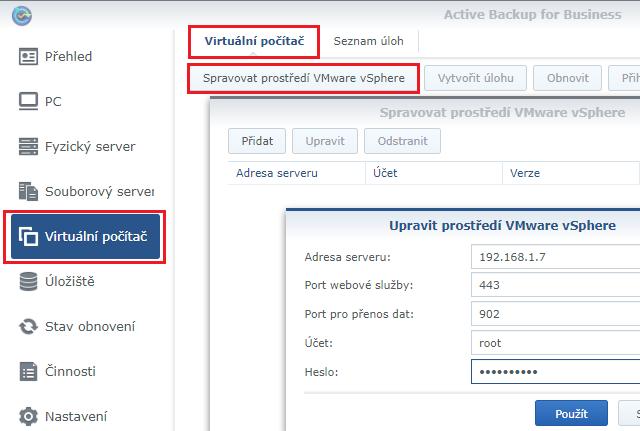 Připojení k VMware