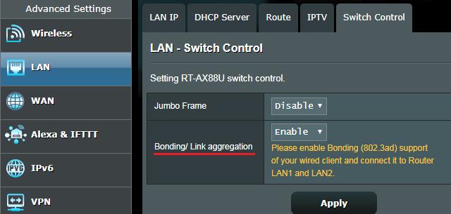 Obcházení problému s rychlostí 1 GbE linky na ASUS RT-AX88U