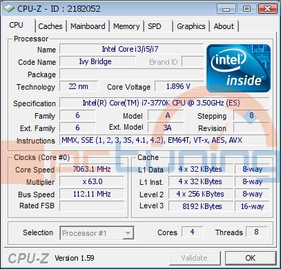 Ivy Bridge (Ci7-3770K) přetaktován na 7,06 GHz