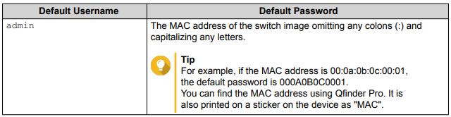 QNAP QSW-M1208-8C - default password