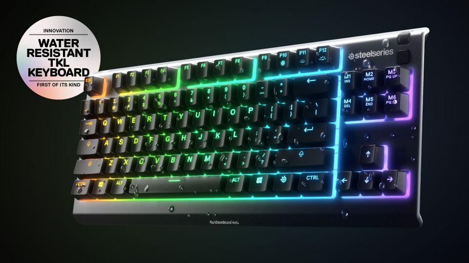 SteelSeries Apex 3 TenKeyLess (TKL: voděodolná herní klávesnice bez numerického bloku
