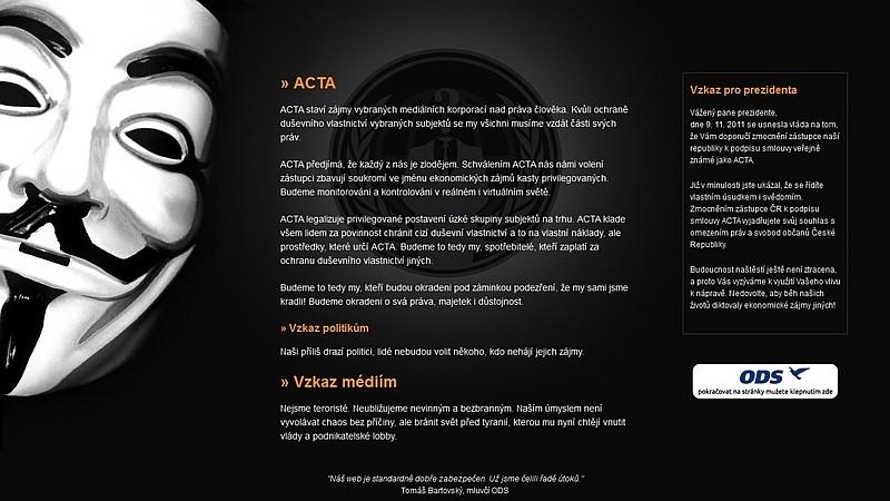 Anonymous získali seznam členů ODS i s adresami