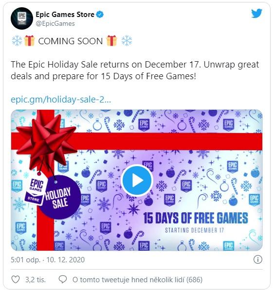 Epická akce od Epic Games nabídne zdarma 15 her