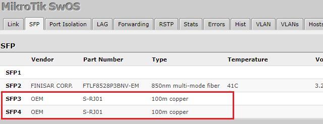 V portu 3 a 4 jsou 1 GbE moduly