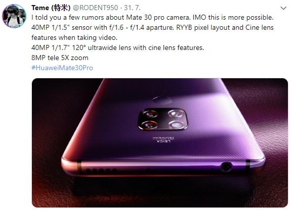 Huawei Mate 30 dostane dva 40Mpx fotoaparáty