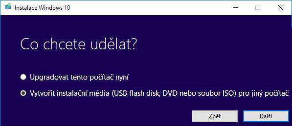 Běžící nástroj pro stažení Windows 10