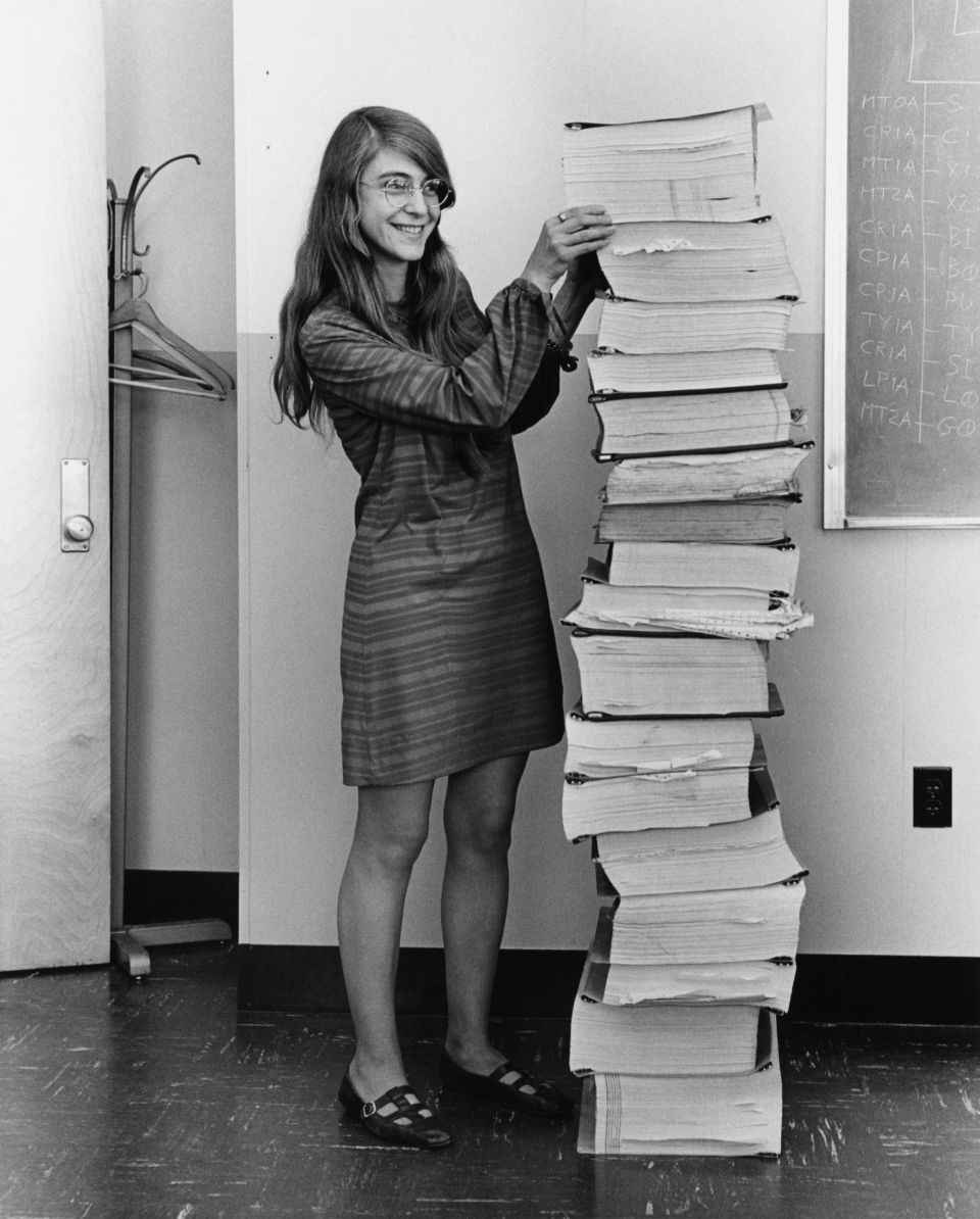 This is a retouched picture, which means that it has been digitally altered from its original version. Modifications: dust and scratches removed; curves tweaked to bring out shadows, approximately 3 pixels cropped from bottom in order to remove a border. See upload history of the PNG for version without colour tweaks. The original can be viewed here: Margaret Hamilton.gif:., Public Domain, Link