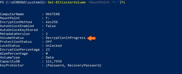 Probíhající dešifrování připojeného disku