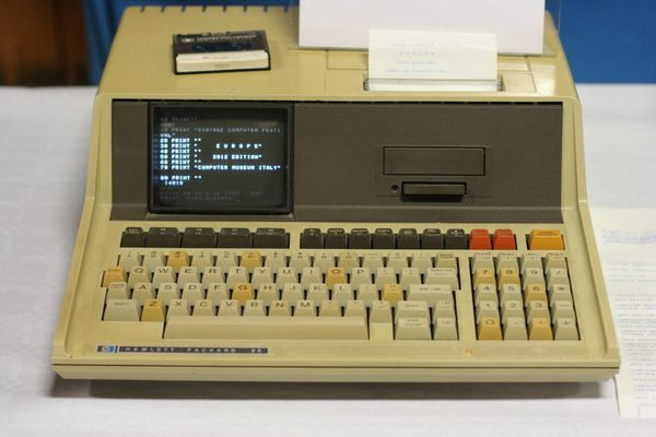 """""""Running HP 85 with BASIC listing, 2012"""" by Wolfgang Stief from Tittmoning, Germany - HP 85 (1980). Licensed under CC BY 2.0 via Wikimedia Commons."""