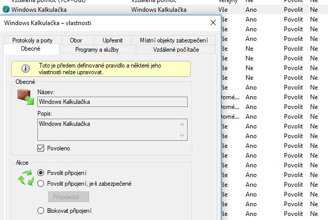 Pravidla Windows firewallu pro program Kalkulačka
