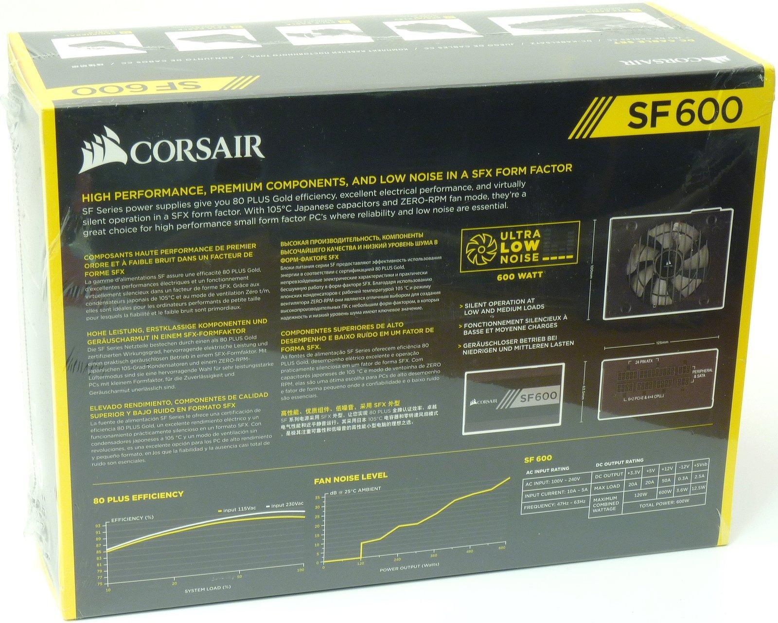 Corsair SF600: 600W semi-pasivní zdroj formátu SFX