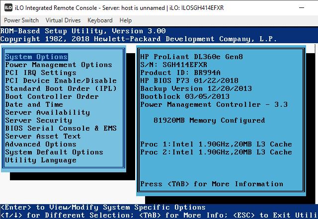 Parametry zobrazené v BIOSu