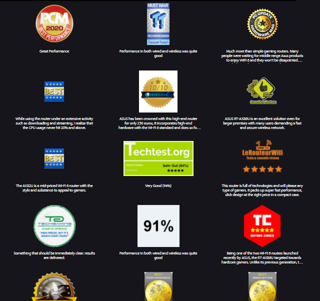 Seznam ocenění na stránkách firmy ASUS