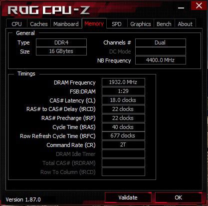 CPU-Z Patriot Viper 4 2x 8GB DDR4 - XMP 3866 MHz CL18-22-22-40 2T
