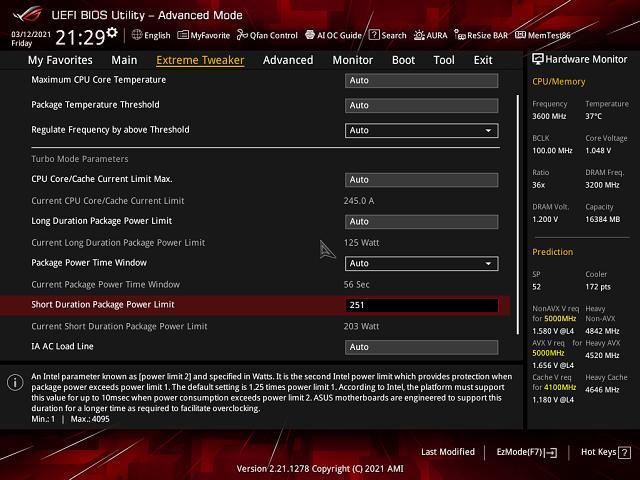 Nastavení PL1: 125 W a PL2: 251 W (default Asus)