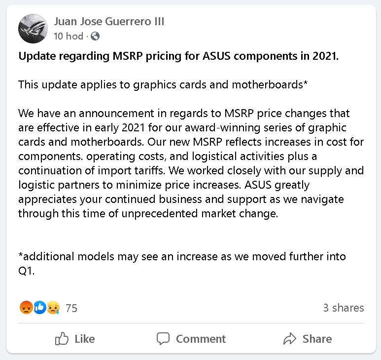 ASUS oficiálně zdražuje základní desky a grafiky