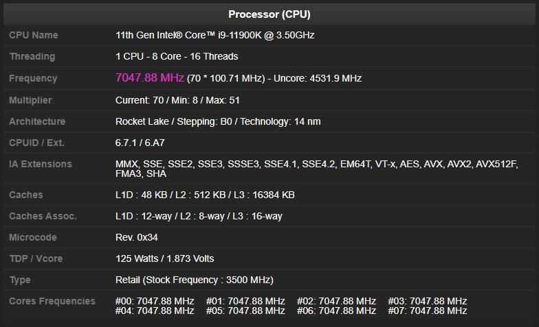 Procesor Intel Core i9-11900K byl přetaktován na 7 047 MHz