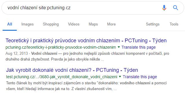 Prohledání stránek www.pctuning.cz