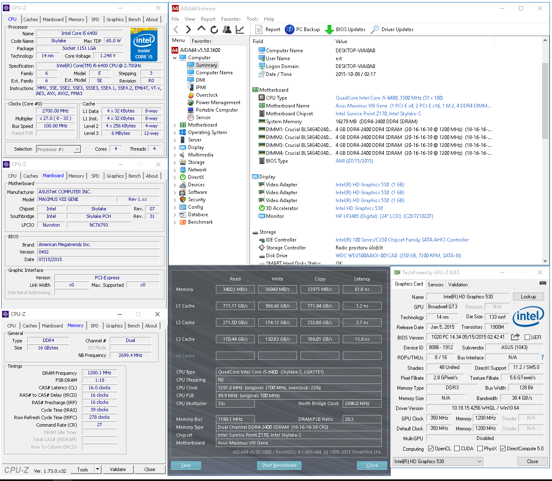 Deska Asus Maximus VIII Gene + Core i5-6400