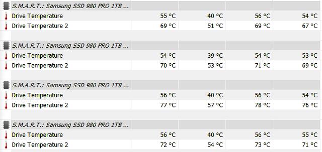 Disky pod chladičem a teploty